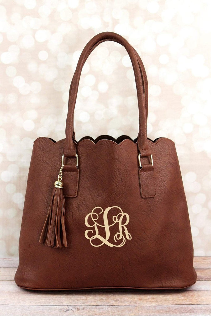 BROWN FAUX LEATHER SCALLOPED TOTE - Southern Style and Stash A Specialty Boutique