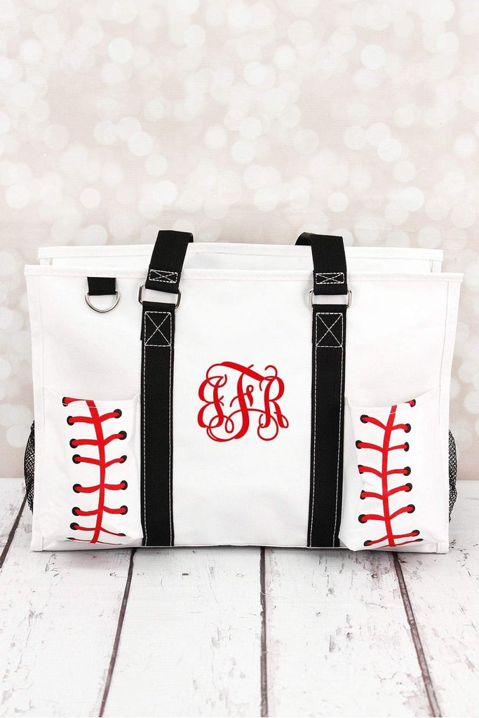 BASEBALL LACES UTILITY TOTE WITH BLACK TRIM - Southern Style and Stash A Specialty Boutique