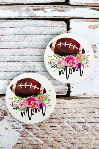 2 Piece Football Mom Car Coaster Set - Southern Style and Stash A Specialty Boutique