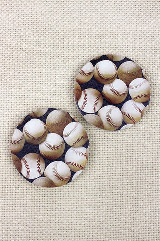 2 Piece Baseball Car Coaster Set - Southern Style and Stash A Specialty Boutique