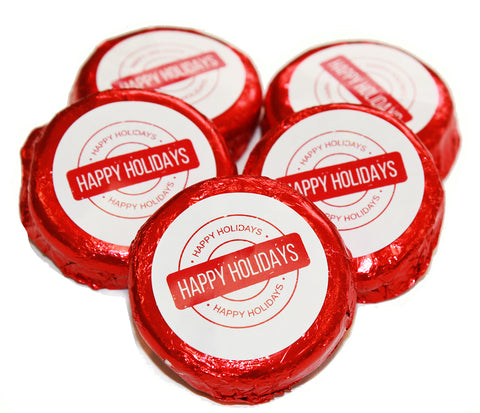 Red Foil Wrapped Milk Chocolate Oreo Cookies - Happy Holidays Design