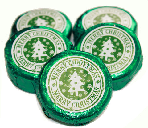 Green Foil Wrapped Milk Chocolate Oreo Cookies - Merry Christmas Design
