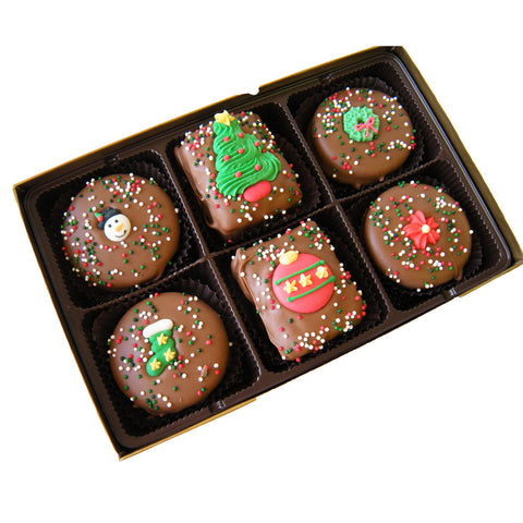 Christmas Holiday decorated Oreo® Cookies & Rice Krispies Treats- 6 pack