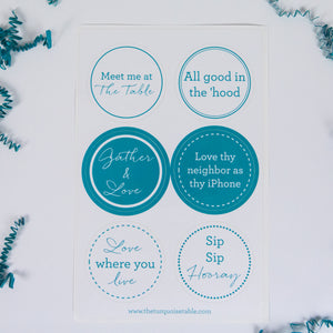 The Turquoise Table Sticker Sheets (2 sheets of 6 stickers)