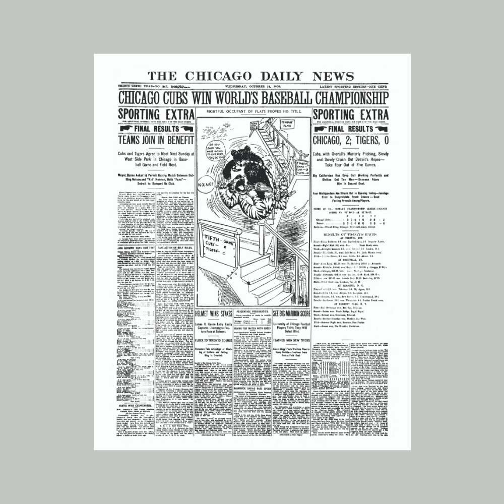 Chicago Sun-Times 1908 World Series Cover Poster