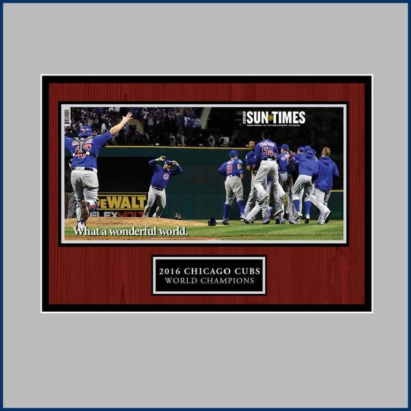 Chicago Sun-Times 2016 World Series Victory Wrap Plaque,  Wood
