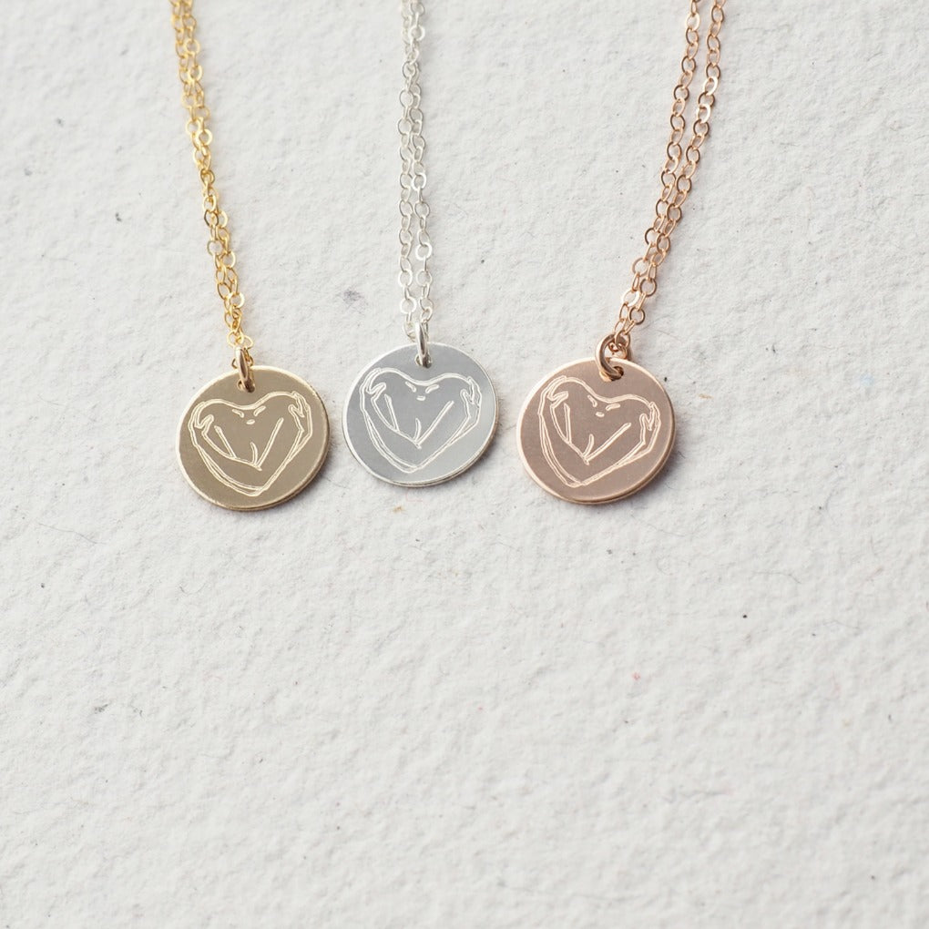 Self love necklace in silver, gold and rose gold