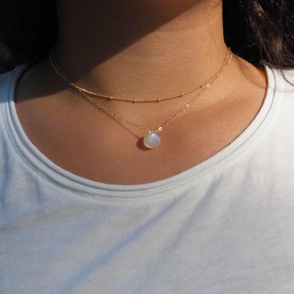 Heart Moonstone Necklace in Silver, Gold and Rose Gold