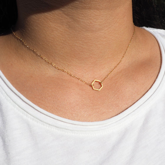Dainty Hexagon Necklace in Silver, Gold and Rose Gold