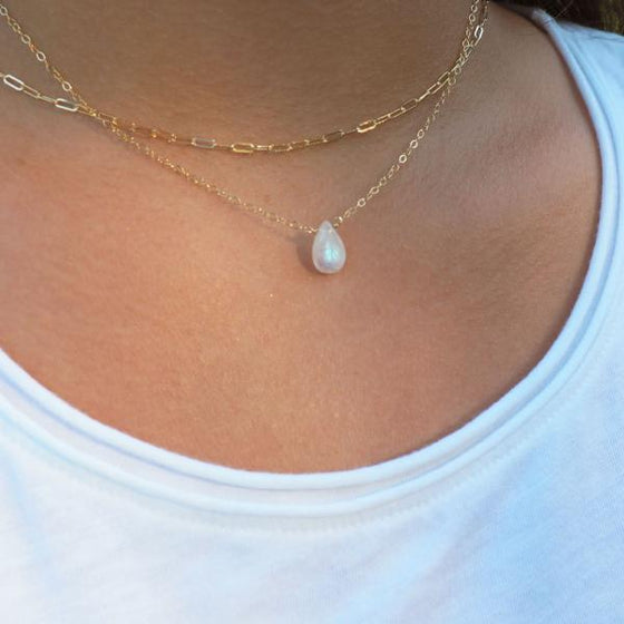 Drop Moonstone Necklace in Silver, Gold and Rose Gold