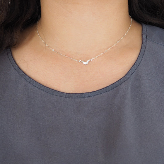 Tiny Crescent Moon Necklace in Sterling Silver, Gold, Rose Gold