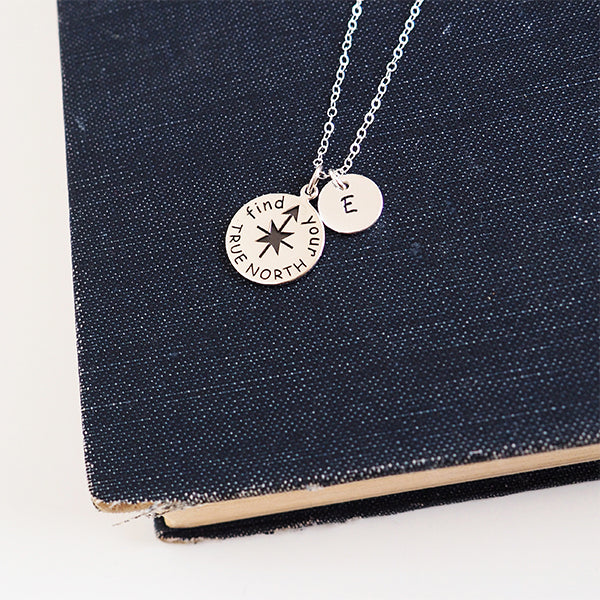 "Sterling Silver ""Find Your True North"" Necklace"
