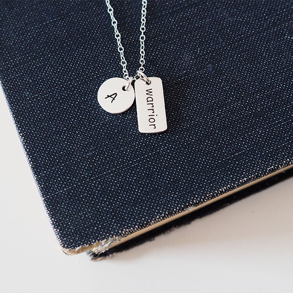 Warrior Necklace, Sterling Silver Initial Necklace, Inspirational Necklace