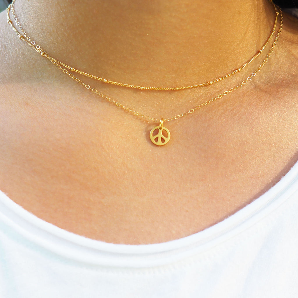 Peace Necklace in Silver, Gold and Rose Gold