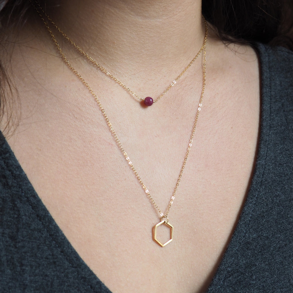 Hexagon Necklace in Silver, Gold and Rose Gold