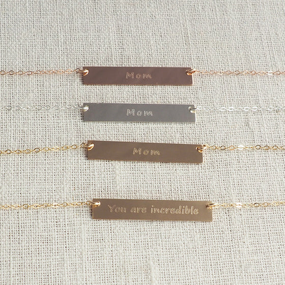 "DOUBLE SIDED ""Mom/You Are Incredible"" Bar Necklace"