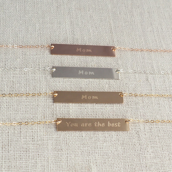 "DOUBLE SIDED ""Mom/You Are The Best"" Bar Necklace"