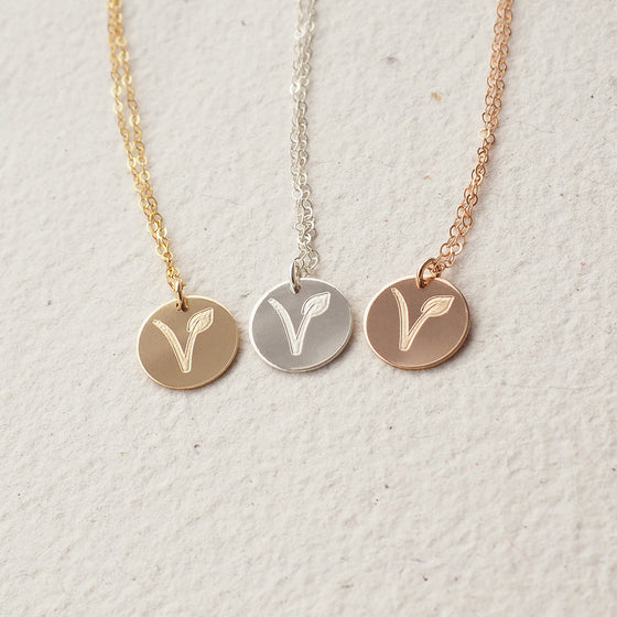 Vegan and Vegetarian Necklace in Silver, Gold and Rose Gold