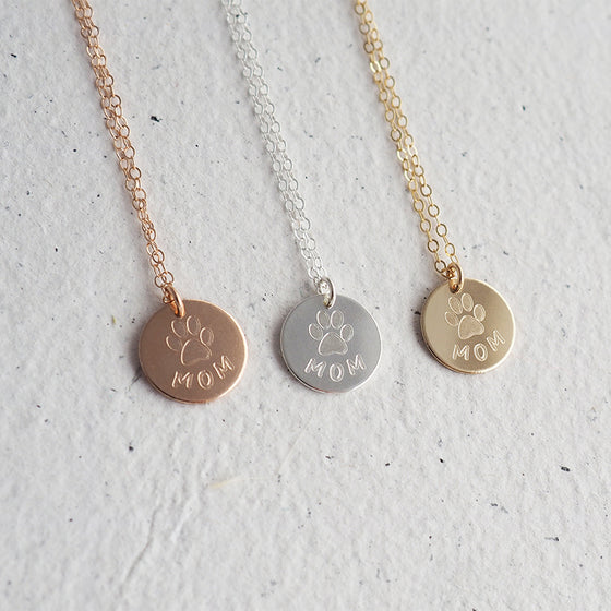 PAW MOM Necklace in Silver, Gold or Rose Gold