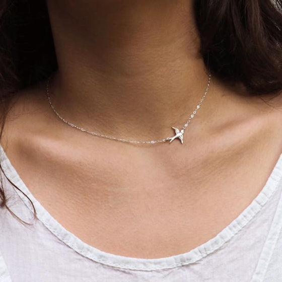 Sideways Bird Necklace in Silver, Gold and Rose Gold
