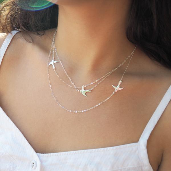 Gold Flying Birds Necklace