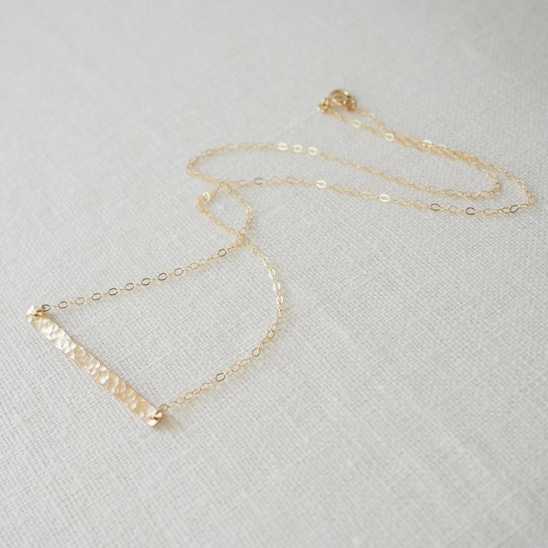 Hammered Bar Necklace in Silver, Gold and Rose Gold