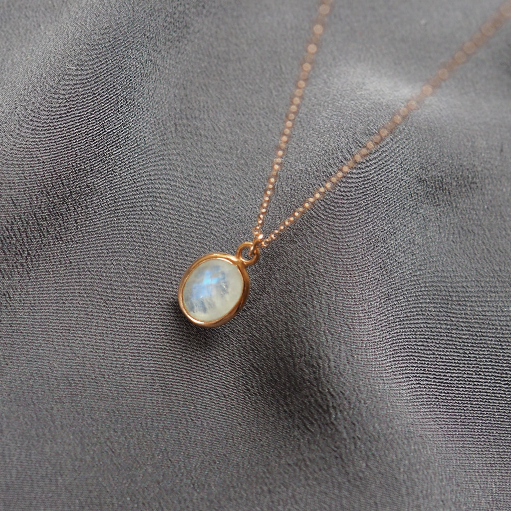 Oval Rose Gold Moonstone Necklace