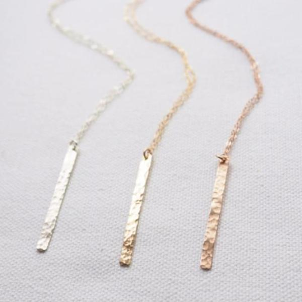 Vertical Bar Necklace in Silver, Gold and Rose Gold