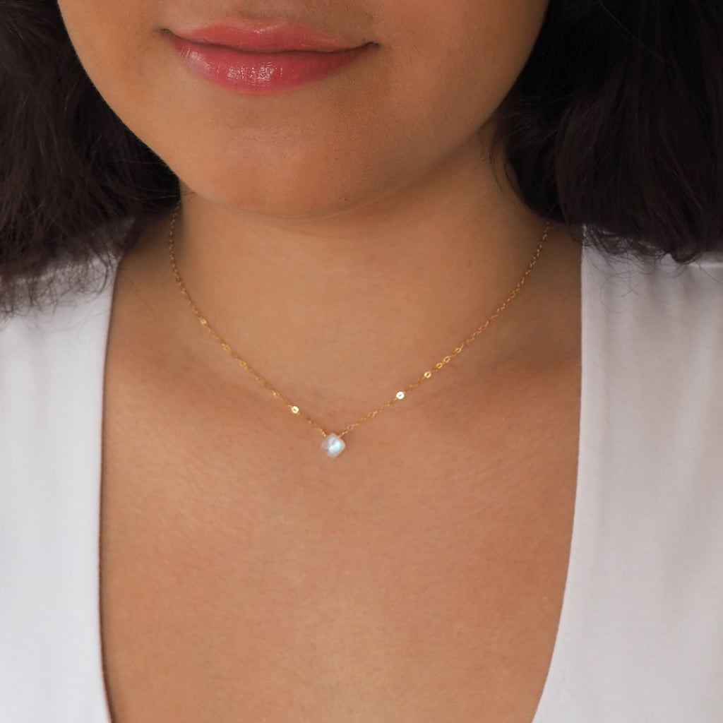 Square Moonstone Necklace in Silver, Gold and Rose Gold