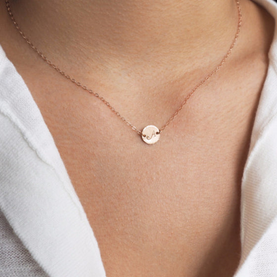 Disc Initial Necklace in Silver, Gold and Rose Gold
