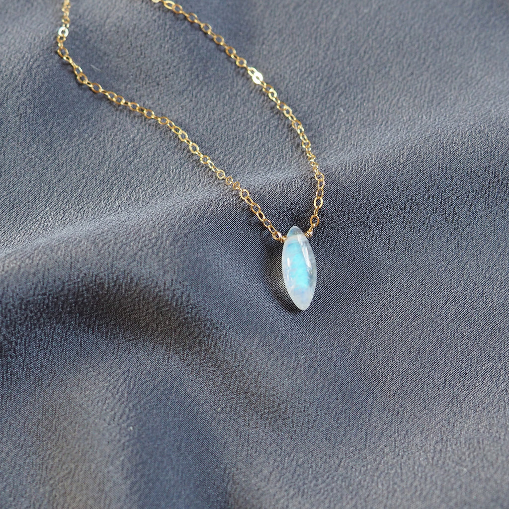 Long Moonstone Necklace in Silver, Gold and Rose Gold