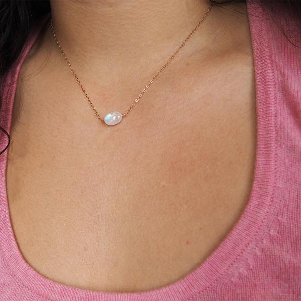 Oval Moonstone Necklace in Silver, Gold and Rose Gold