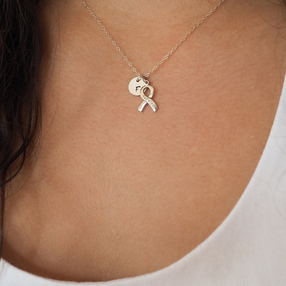 Sterling Silver Survivor Ribbon Necklace
