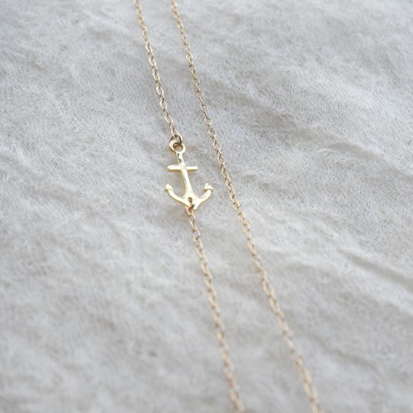 Anchor Sideways Necklace, Gold Anchor Necklace