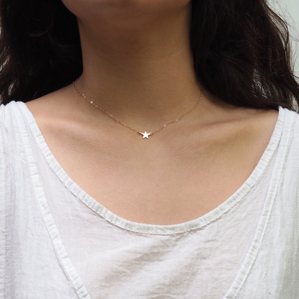 Dainty Star Necklace in Silver, Gold and Rose Gold