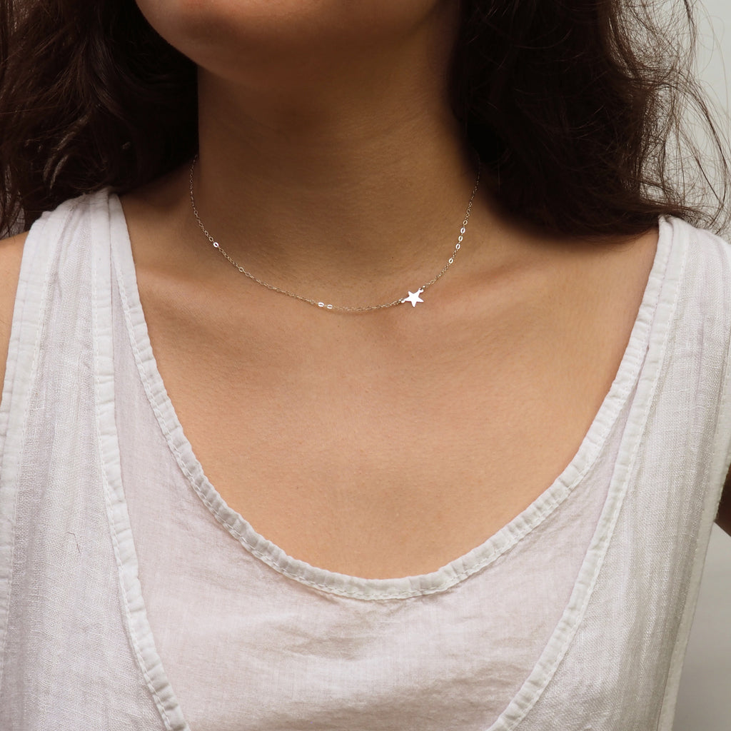 Sideways Star Necklace in Silver, Gold and Rose Gold