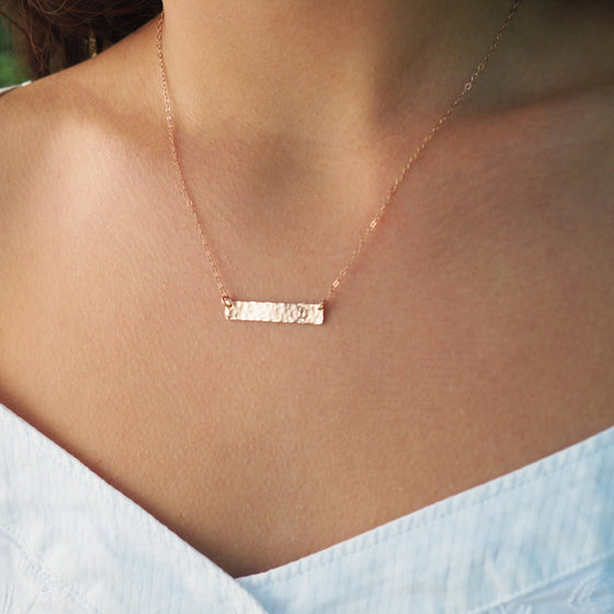 Initial Bar Necklace in Silver, Gold and Rose Gold