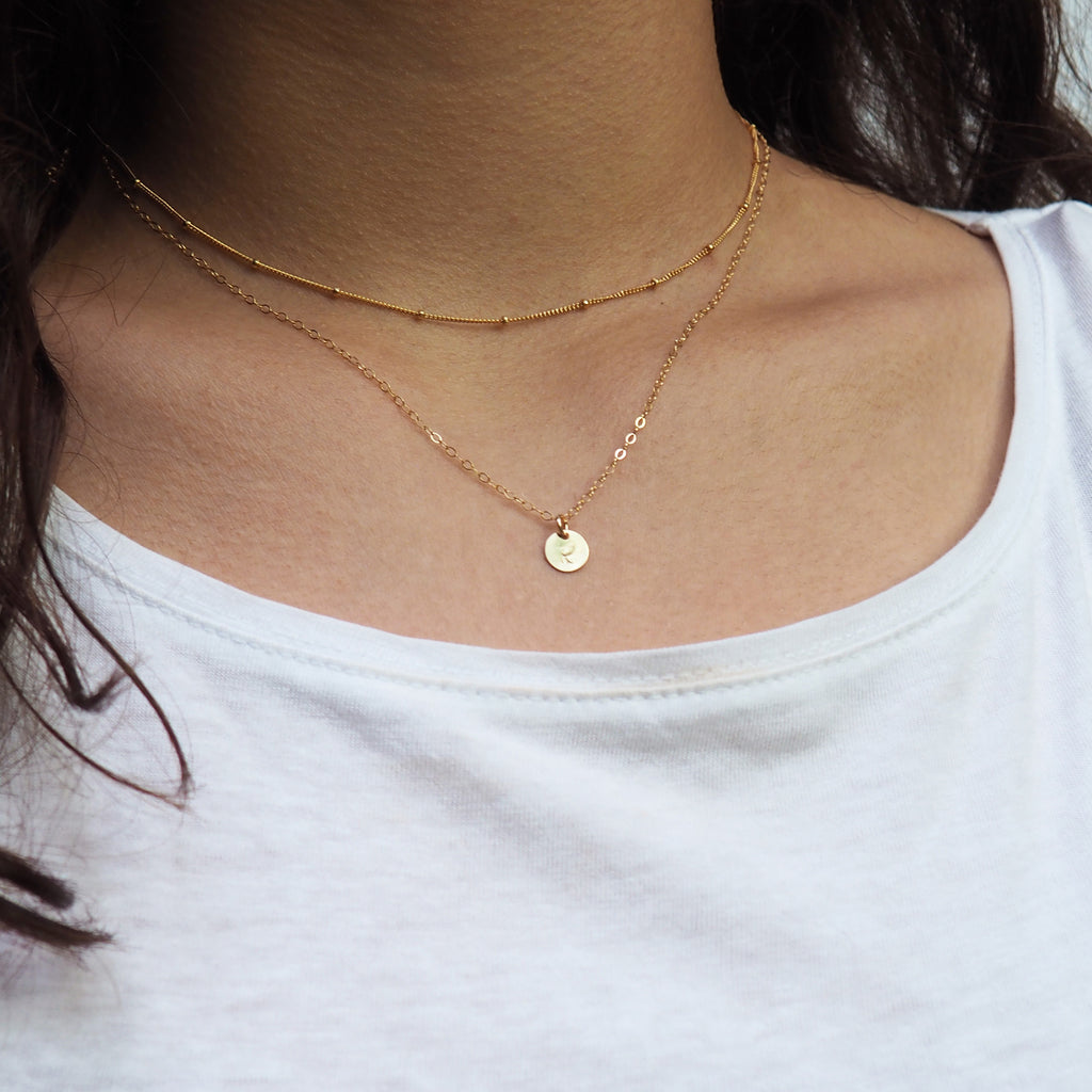 Tiny Initial Necklace in Silver, Gold and Rose Gold
