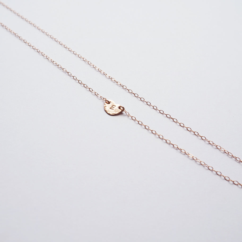 Heart Initial Necklace in Silver, Gold and Rose Gold