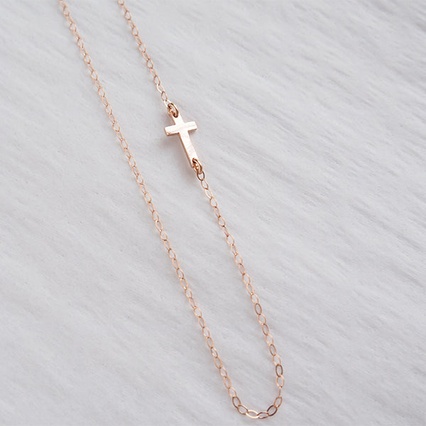 Rose Gold Centered Cross Necklace