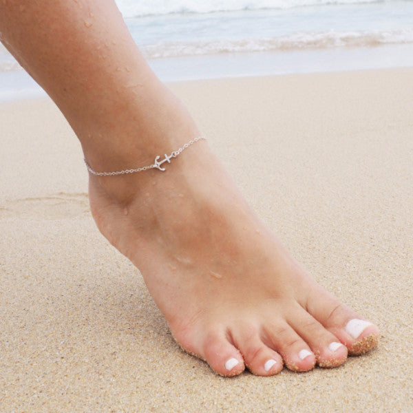 Anchor Anklet in Sterling Silver, Gold and Rose Gold