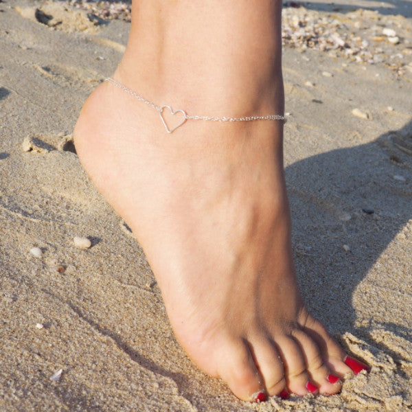 Heart Anklet in Silver, Gold and Rose Gold