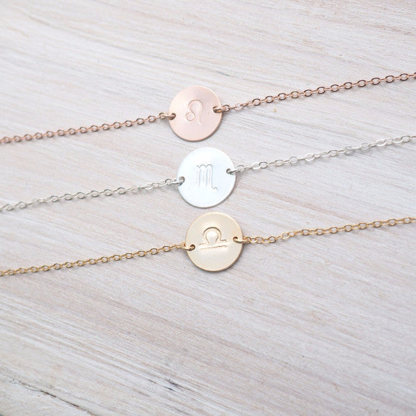 Zodiac Anklet in Silver, Gold and Rose Gold