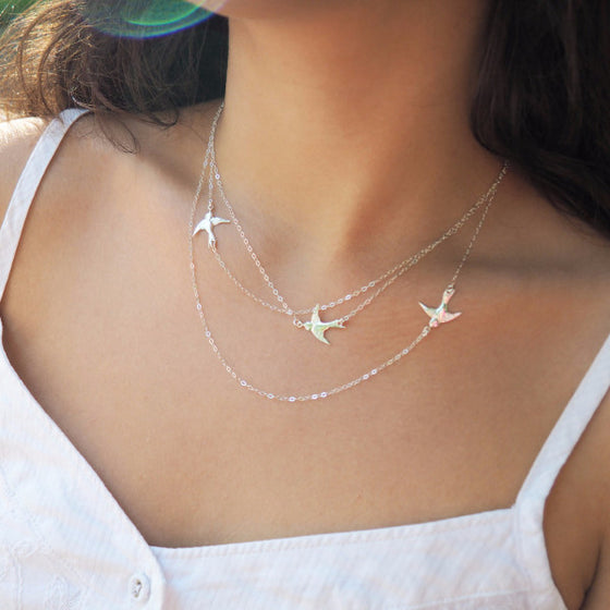 Flying Birds Necklace in Silver, Gold and Rose Gold