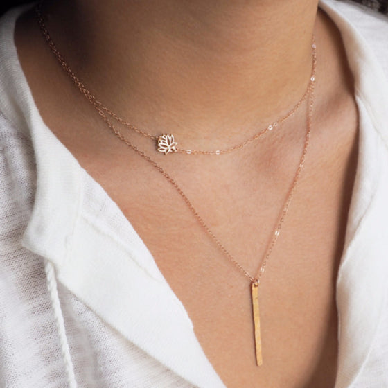 Set of 2 Necklaces, Lotus + Vertical Bar Necklace