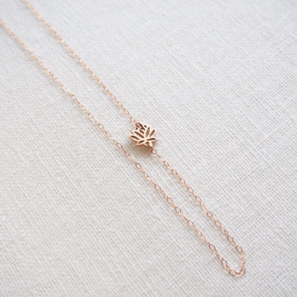 Sideways Lotus Necklace in Silver, Gold and Rose Gold