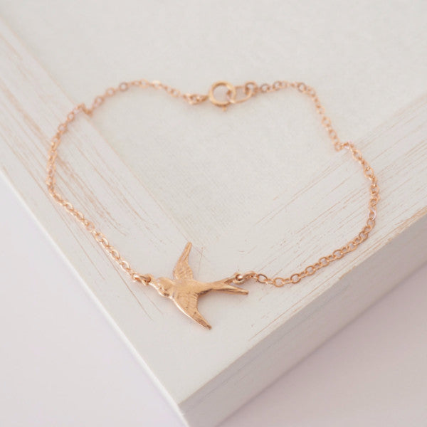 Bird Bracelet in Silver, Gold or Rose Gold