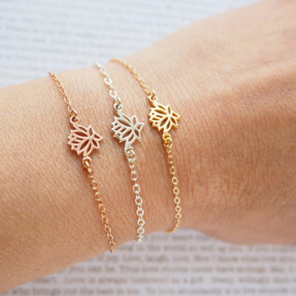 Lotus Bracelet in Silver, Gold or Rose Gold