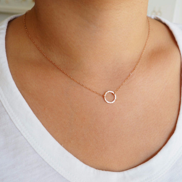 Circle Necklace in Sterling Silver, Gold and Rose Gold