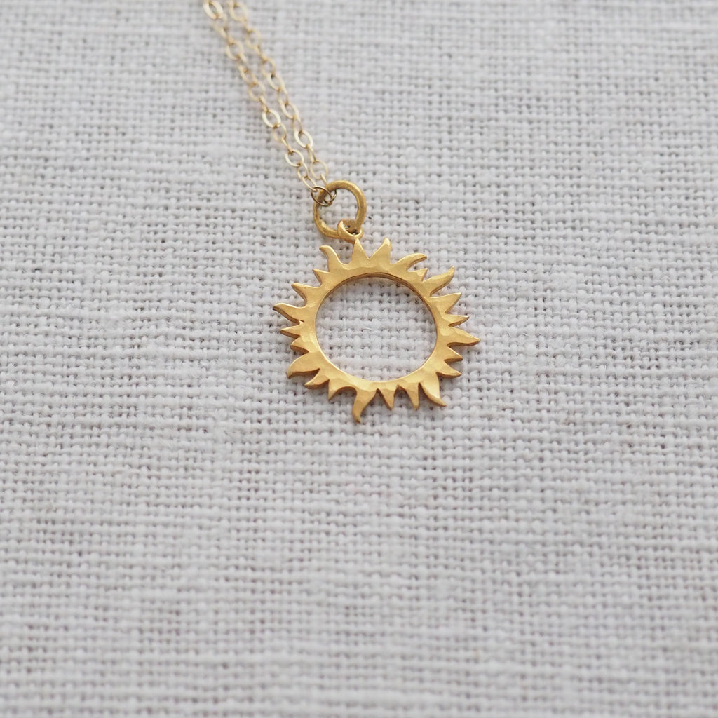 Sun Necklace in Sterling Silver and Gold